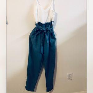 Windsor blue and white paper bag jumpsuit
